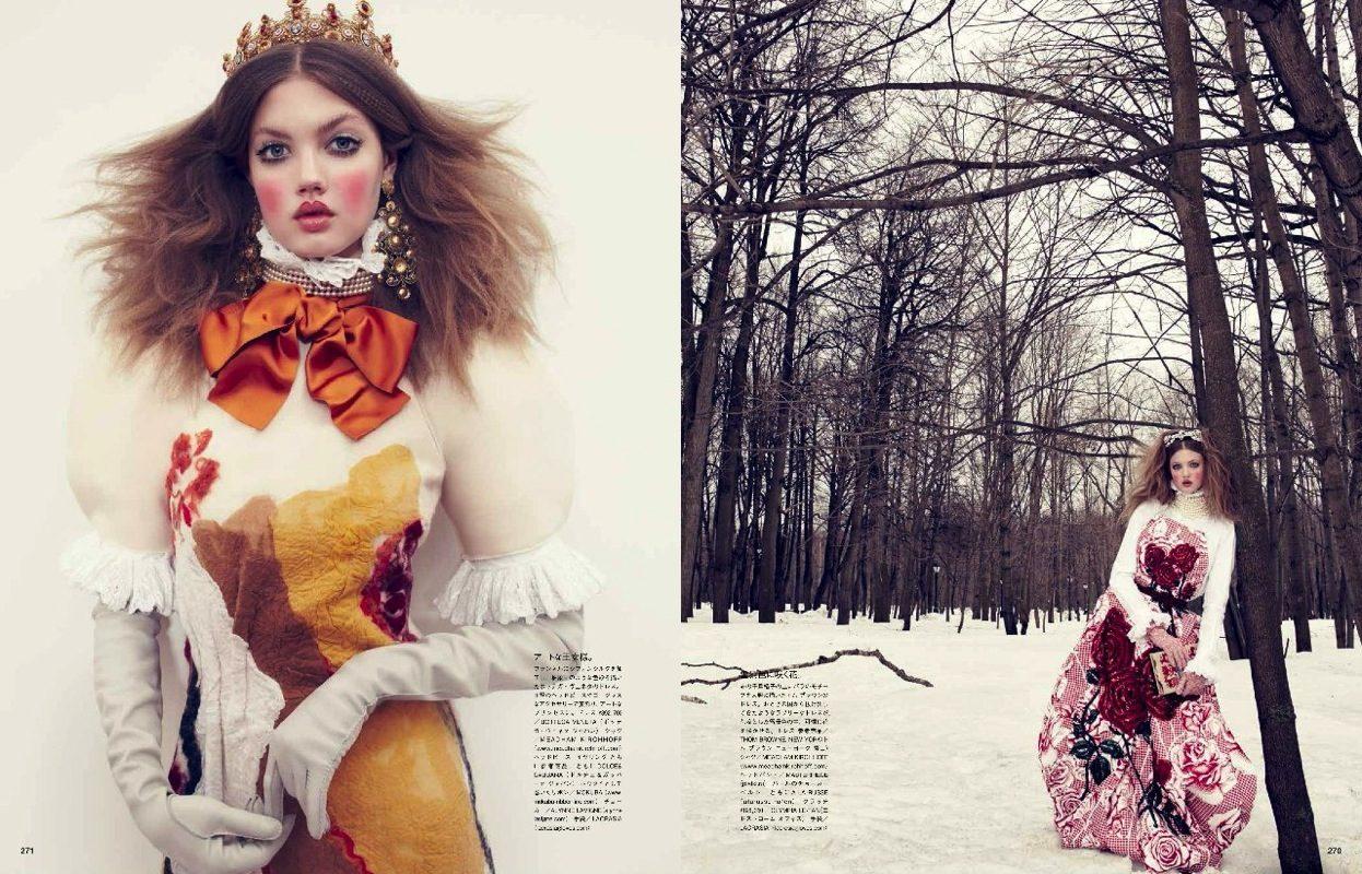 国际超模Lindsey Wixson在莫斯科为时尚杂志《Vogue》拍摄广告大片